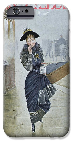 Street Drawings iPhone Cases - Young Parisian Hatmaker iPhone Case by Jean Beraud