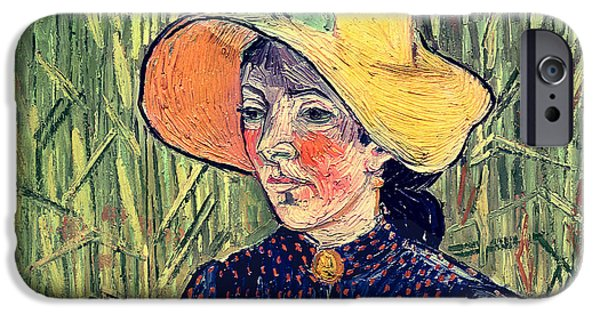 Woman In A Dress iPhone Cases - Young Peasant Girl in a Straw Hat sitting in front of a wheatfield iPhone Case by Vincent van Gogh