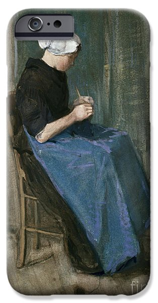 Young iPhone Cases - Young Scheveningen Woman Knitting Facing Right iPhone Case by Vincent van Gogh