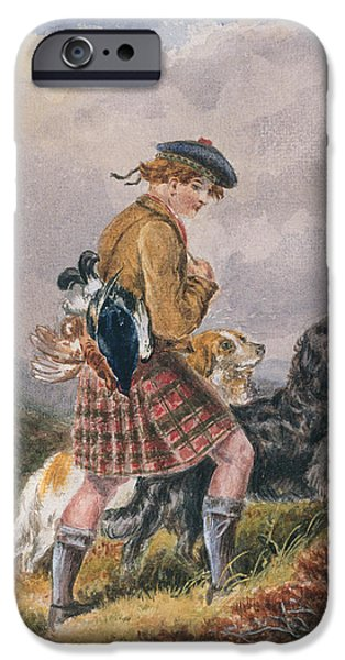 Scottish Dog iPhone Cases - Young Scottish Gamekeeper with Dead Game iPhone Case by English School
