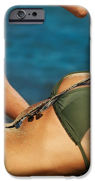 Dirty iPhone Cases - Young sensual couple kissing on the beach iPhone Case by Oleksiy Maksymenko