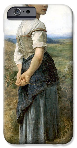 Young Digital Art iPhone Cases - Young Shepherdess iPhone Case by William Bouguereau