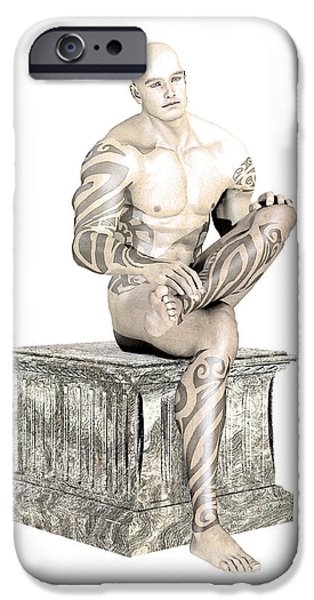 Male Nude Drawing Drawings iPhone Cases - Young sitting By Quim Abella iPhone Case by Joaquin Abella