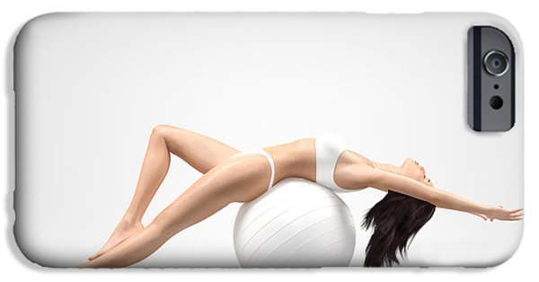 Pilate iPhone Cases - Young slim woman balancing on exercise ball iPhone Case by Oleksiy Maksymenko