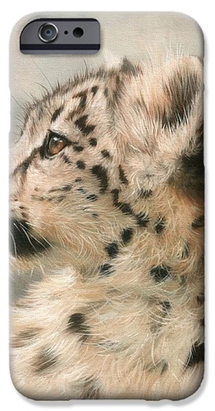 Snow iPhone Cases - Young Snow Leopard iPhone Case by David Stribbling