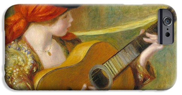 Guitar iPhone Cases - Young Spanish Woman with a Guitar iPhone Case by Pierre Auguste Renoir
