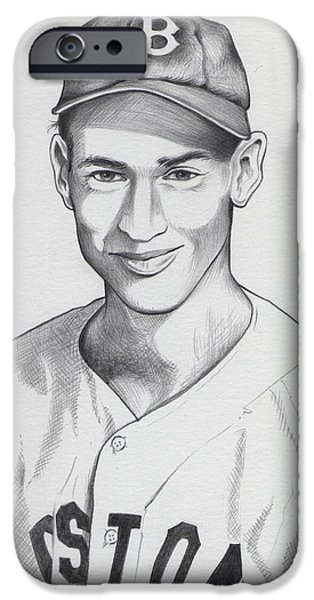Red Sox Drawings iPhone Cases - Young Ted iPhone Case by Ben De Soto