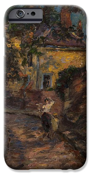 Alley iPhone Cases - Young Woman And Child In An Alley Oil On Panel iPhone Case by Henri Duhem