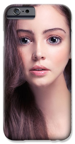 Gray Hair iPhone Cases - Young woman anime style beauty portrait with beautiful large gra iPhone Case by Oleksiy Maksymenko