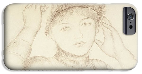 Close Up Drawings iPhone Cases - Young Woman Arranging her Hat iPhone Case by Pierre Auguste Renoir