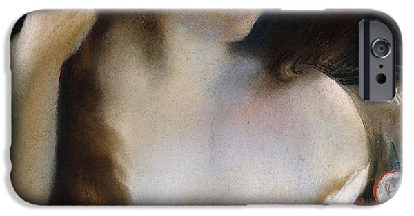 Feminine Pastels iPhone Cases - Young woman at her Toilet iPhone Case by Paul Albert Besnard