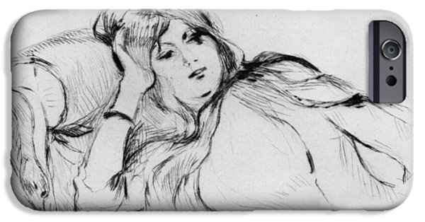 Drypoint iPhone Cases - Young woman at rest iPhone Case by Berthe Morisot