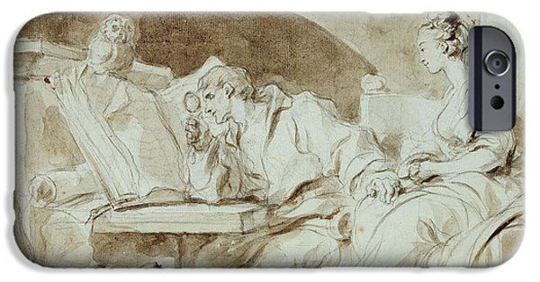 Book Pastels iPhone Cases - Young Woman consulting a Necromancer iPhone Case by Jean-Honore Fragonard