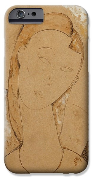 Abstractions Drawings iPhone Cases - Young Woman  Giovane Donna iPhone Case by Amedeo Modigliani
