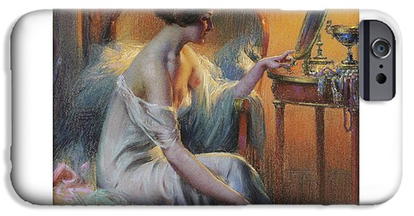 Dressing Room Paintings iPhone Cases - Young Woman in her Dressing Room iPhone Case by Delphin Enjrolas
