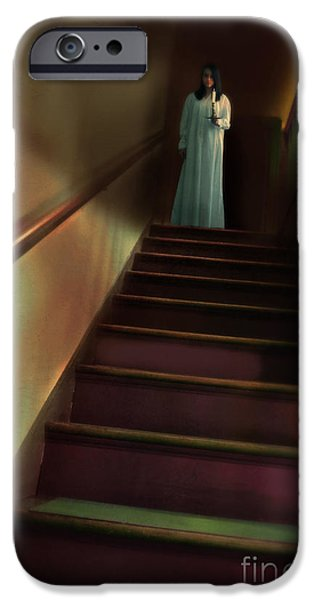 Young Woman in Nightgown on Stairs iPhone Case by Jill Battaglia