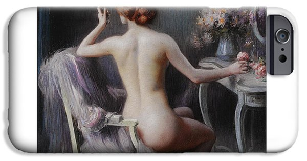 Dressing Room Paintings iPhone Cases - Young Woman Looking at Herself in a Mirror iPhone Case by Delphin Enjolras