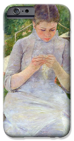 Young Paintings iPhone Cases - Young Woman Sewing in the garden iPhone Case by Mary Stevenson Cassatt