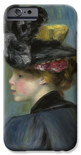 Woman With Black Hair iPhone Cases - Young Woman with Black Hat iPhone Case by Pierre Auguste Renoir
