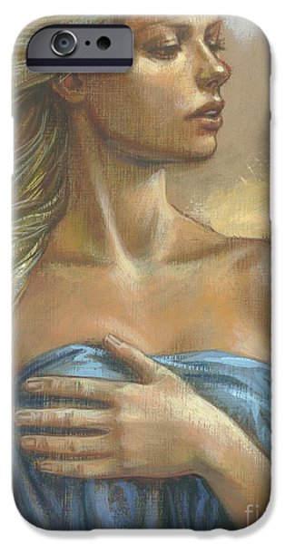 Blonde iPhone Cases - Young Woman with Blue Drape crop iPhone Case by Zorina Baldescu