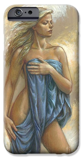 Blonde iPhone Cases - Young Woman With Blue Drape iPhone Case by Zorina Baldescu
