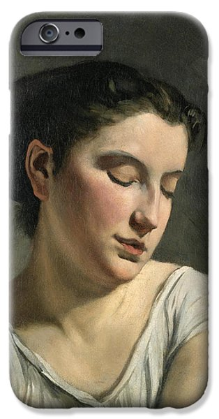 Young Paintings iPhone Cases - Young Woman with Lowered Eyes iPhone Case by Frederic Bazille