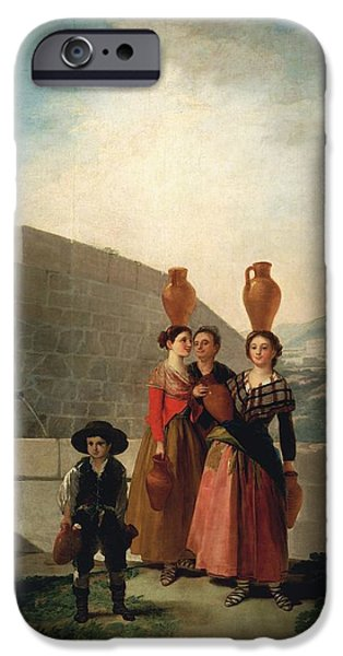 Old Pitcher Paintings iPhone Cases - Young Women with Pitchers iPhone Case by Francisco Goya