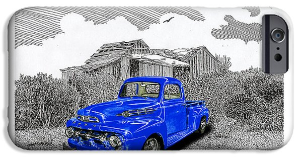 Location Drawings iPhone Cases - Your 1952 F 100 Pick Up in N M  iPhone Case by Jack Pumphrey