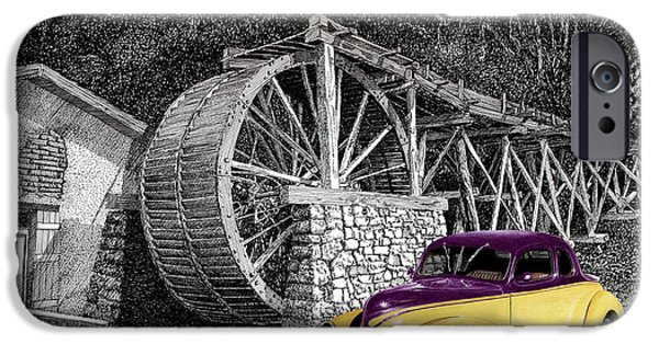 Location Drawings iPhone Cases - 1939 Ford Street Rod next to Waterwheel iPhone Case by Jack Pumphrey