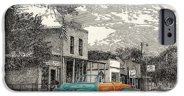 Location Drawings iPhone Cases - 1946 Ford Sports Man Convertible  in Hillsboro N M  iPhone Case by Jack Pumphrey