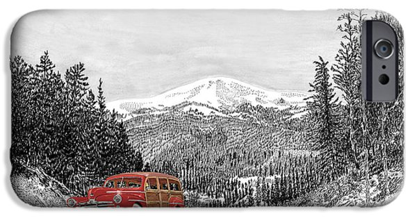 Location Drawings iPhone Cases - 1946 Ford Special Deluxe Woody on Apache Summit iPhone Case by Jack Pumphrey