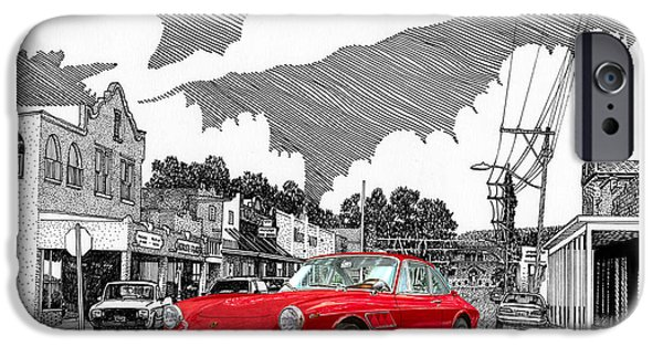 Location Drawings iPhone Cases - Your Ferrari in Tularosa N M  iPhone Case by Jack Pumphrey