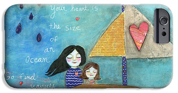Boat iPhone Cases - Your Heart is the Size of an Ocean iPhone Case by AnaLisa Rutstein
