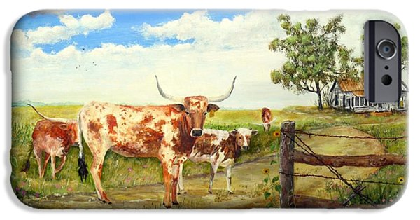 Michael iPhone Cases - Longhorn stand off your place or mine iPhone Case by Michael Dillon