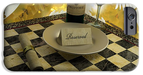 Table Wine iPhone Cases - Your Seat is Reserved iPhone Case by Matthew Lukas