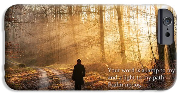 Recently Sold -  - Forest iPhone Cases - Your word is a light to my path bible verse quote iPhone Case by Matthias Hauser