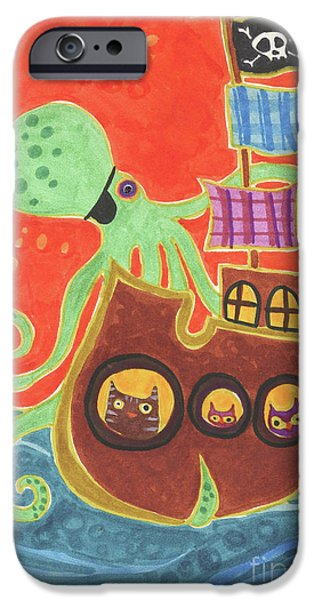 Pirate Ship Drawings iPhone Cases - Youve Been Pirated iPhone Case by Kate Cosgrove