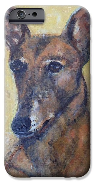 Retired Racer Dog Portrait. iPhone Cases - YoYo Jones iPhone Case by Diane Hagg