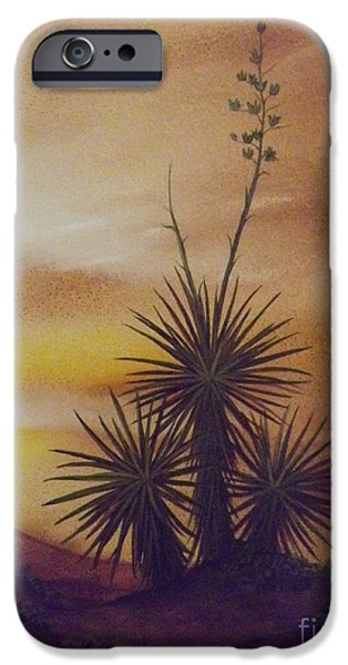 Arizonia iPhone Cases - Yuccas at Sunset iPhone Case by Lorita Montgomery