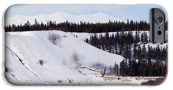 Husky iPhone Cases - Yukon winter landscape and dogs pull musher sled iPhone Case by Stephan Pietzko