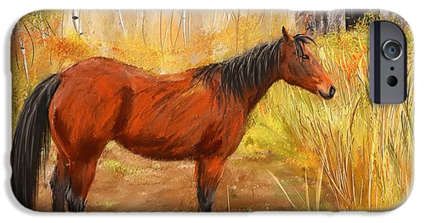 Barns Paintings iPhone Cases - Yuma- Stunning Horse in Autumn iPhone Case by Lourry Legarde