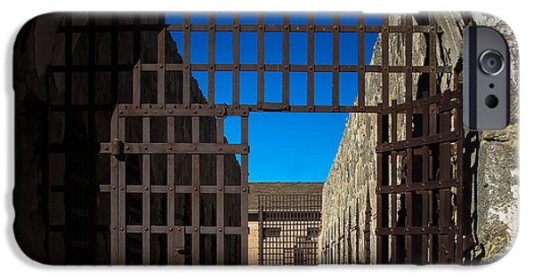Haybale iPhone Cases - Yuma Territorial Prison Gate iPhone Case by Robert Bales