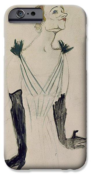 Caricature Posters iPhone Cases - Yvette Guilbert  iPhone Case by Henri de Toulouse-Lautrec