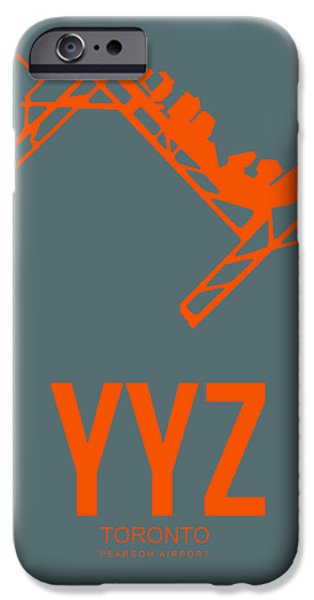 Town iPhone Cases - YYZ Toronto Airport Poster iPhone Case by Naxart Studio