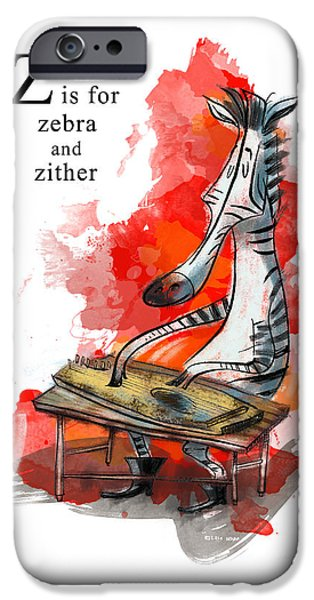 Animal Alphabet iPhone Cases - Z is for Zebra iPhone Case by Sean Hagan