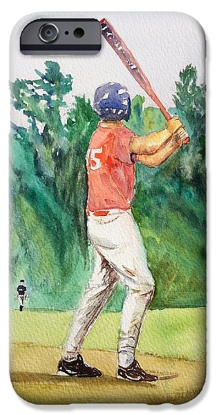 Baseball Uniform Paintings iPhone Cases - Zack at Bat iPhone Case by Anna Willard