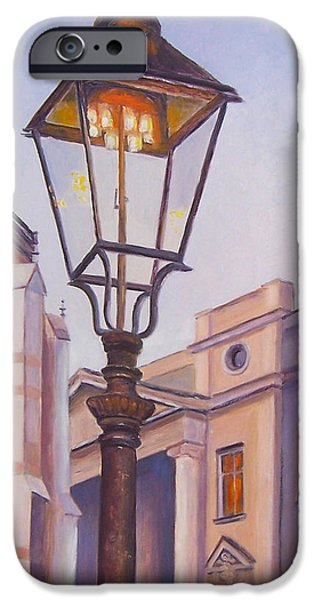 Night Lamp Paintings iPhone Cases - Zagreb Gaslight - Croatia iPhone Case by Jan Matson