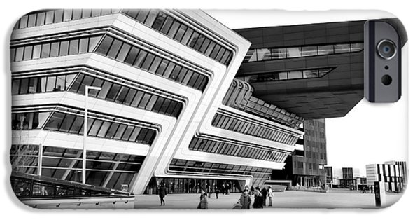 Asymmetrical iPhone Cases - Zaha Hadid Library Center WU Campus Vienna iPhone Case by Menega Sabidussi