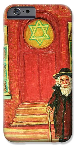 Old Man With Beard iPhone Cases - Zaidas  Shul iPhone Case by Carole Spandau