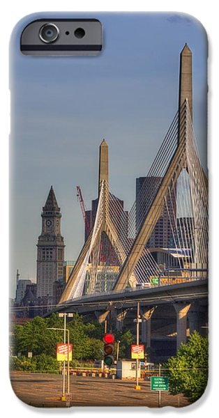 City. Boston iPhone Cases - Zakim Bridge and Blue Skies iPhone Case by Joann Vitali